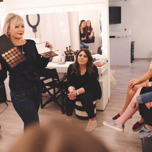 Group of girls at makeup school